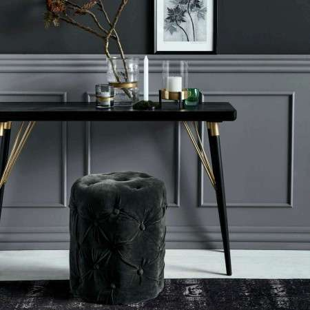 Nordal Black Wood and Gold Console Table