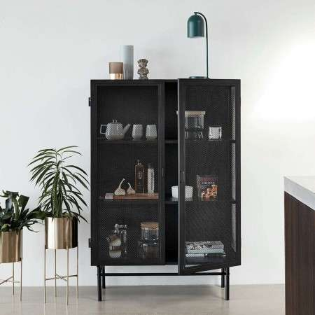 Hubsch Black Metal Cabinet with Wire Mesh Doors