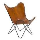 FUHRHOME Amazon Natural Leather Sling Butterfly Chair