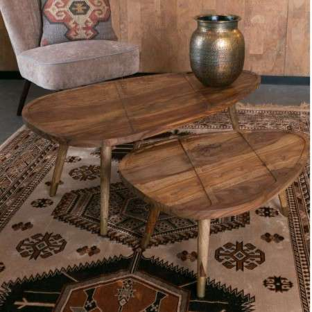 Dutchbone Sham Decorative set of 2 Rosewood Coffee Tables