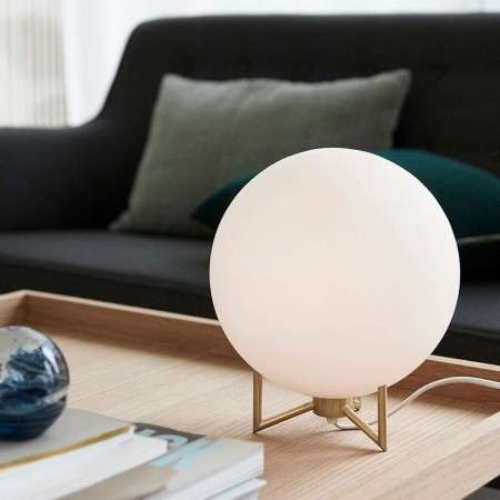 Hubsch Lyon White Glass & Brass Orb Table Lamp