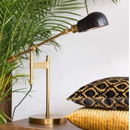 Dutchbone Lily Black & Brass Desk Lamp
