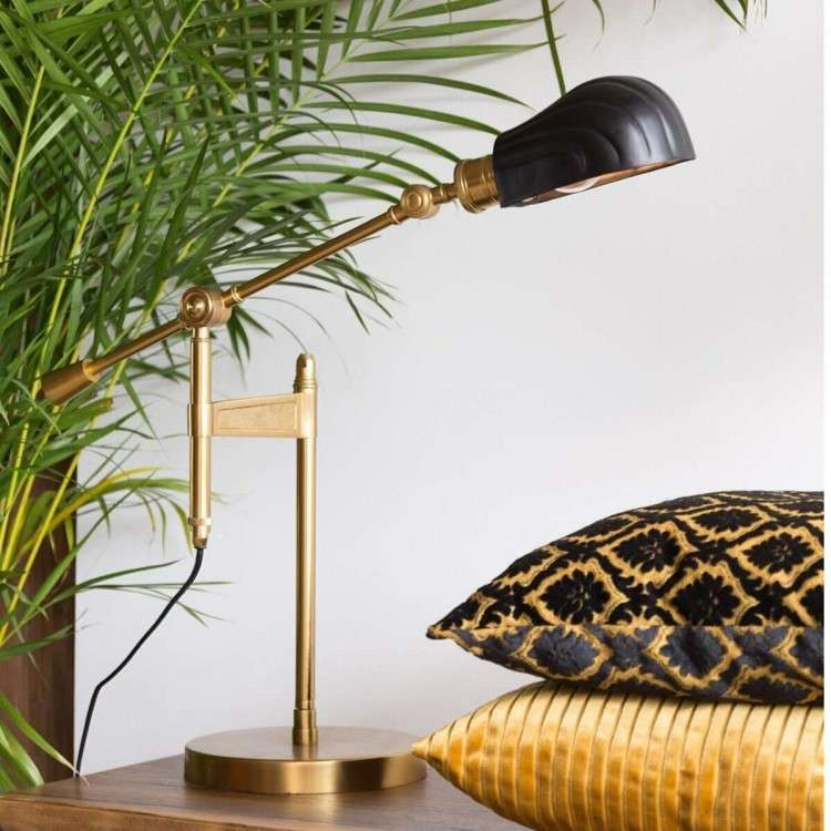 Dutchbone Lily Black & Brass Desk Lamp from Accessories for the Home