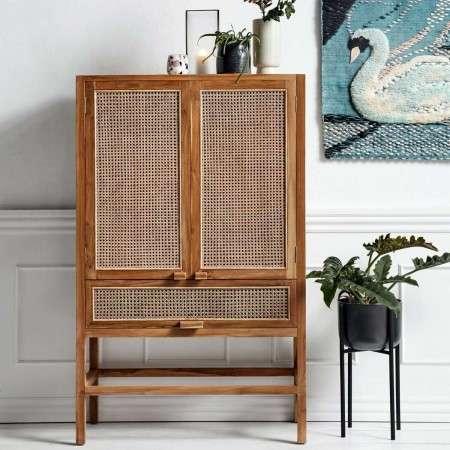 Nordal Rattan & Teak Wood Cabinet (Natural)