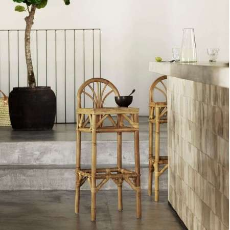 Tinekhome Natural Rattan Bar Stool with Back Rest