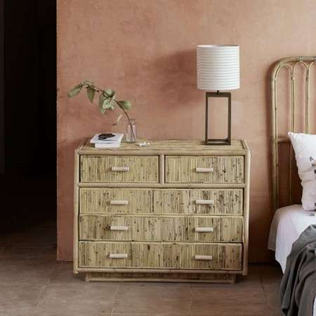 Tinekhome 5 Drawer Natural Rattan Dresser
