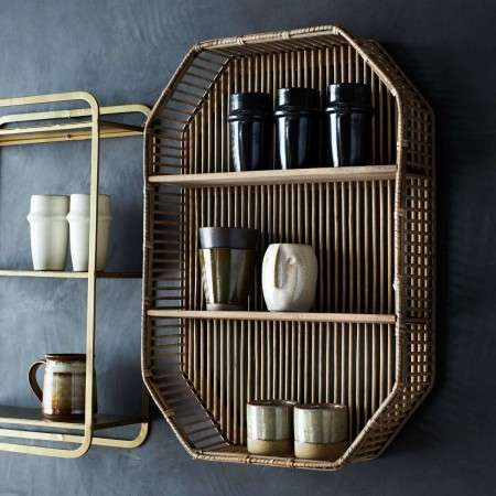 Natural Rattan Rectangular Wall Shelf from Accessories for the Home