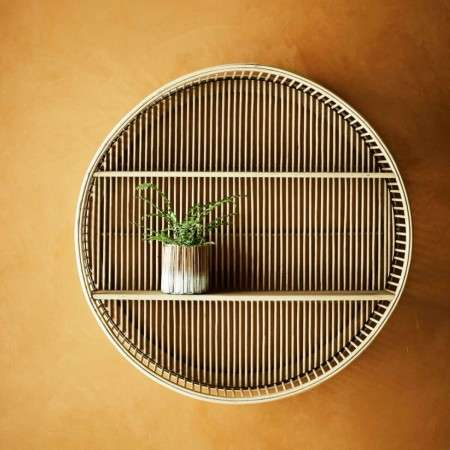 Madam Stoltz Bamboo Circular Wall Shelf