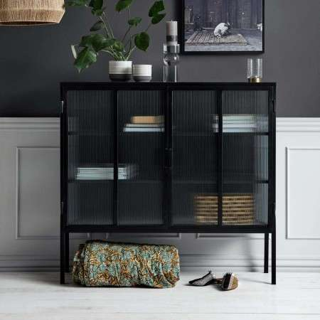 Nordal Black Iron Buffet Cabinet with Groovy Glass