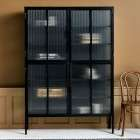 Nordal Large Black Iron Cabinet with Groovy Glass