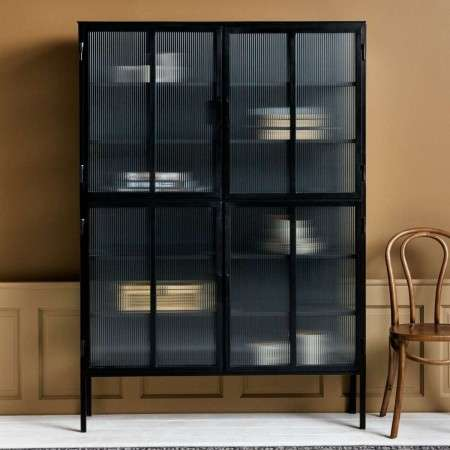 Nordal Large Black Iron Cabinet with Groovy Glass from Accessories for the Home