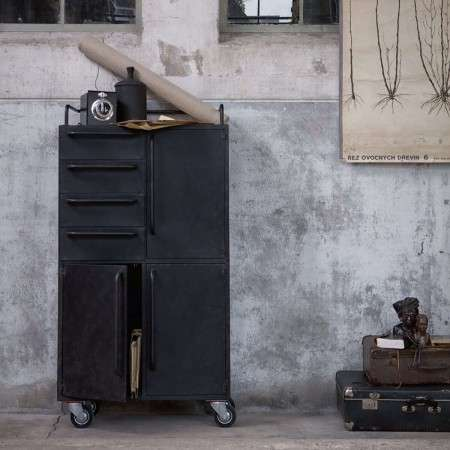 BePureHome Beauty Black Metal Storage Cabinet on Castors