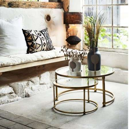 Madam Stoltz Brass and Glass Tables (2) from Accessories for the Home