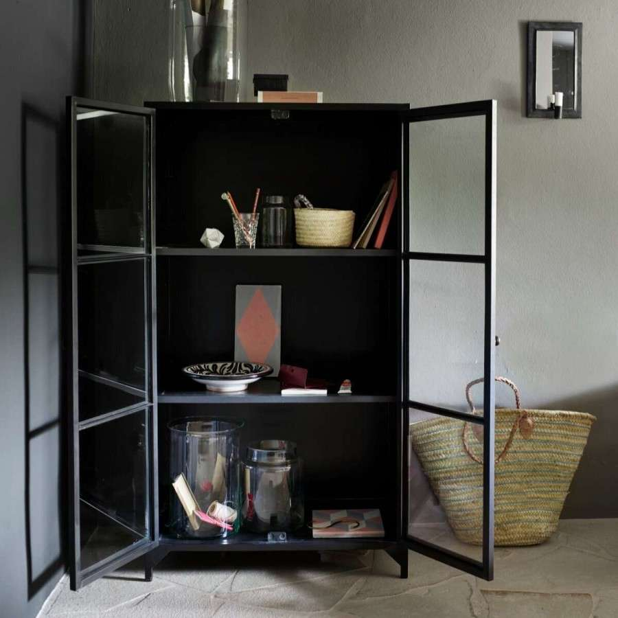 Tinekhome Black Metal Amp Glass Cabinet Accessories For