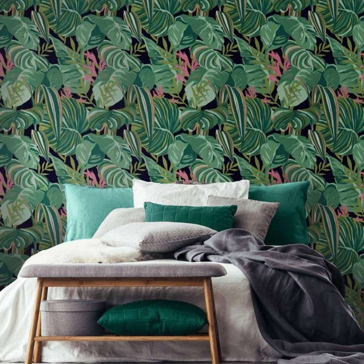 THE GAP Tropical Foliage Anthracite Wallpaper from Accessories for the Home