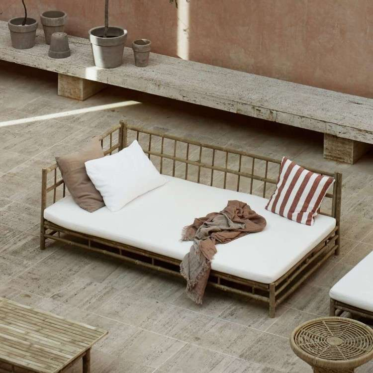 Tinekhome Natural Bamboo Right Hand Lounge Bed with Cushions from Accessories for the Home
