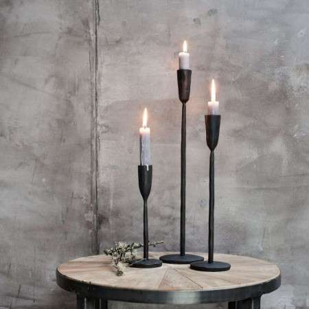 Iron Candlesticks in Antique Black