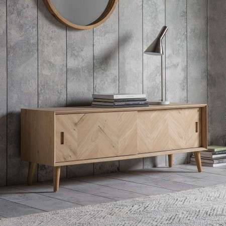 Malmo Chevron Inlay Solid Oak Media Unit