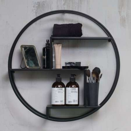 Woood Peet Black Metal Circular Wall Shelf from Accessories for the Home