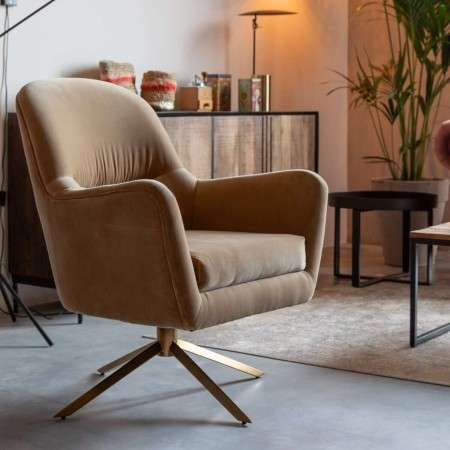 Dutchbone Robusto Caramel Armchair