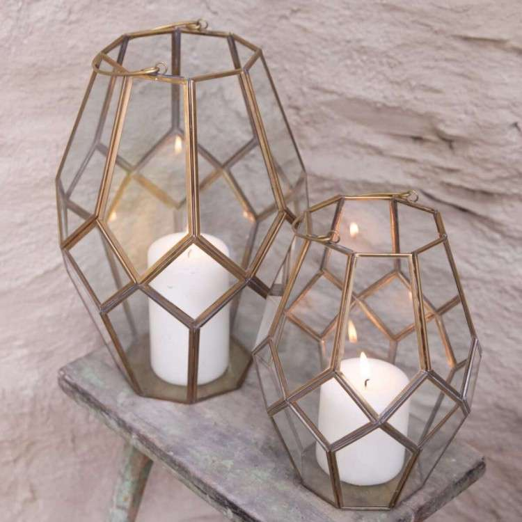 Antique Brass Glass Window Lanterns from Accessories for the Home