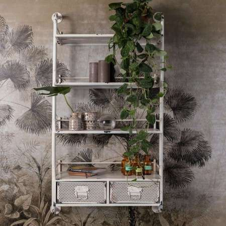 Dutchbone Barber White Iron Wall Shelf