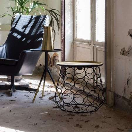 Dutchbone Moulin Brass and Black Side Table