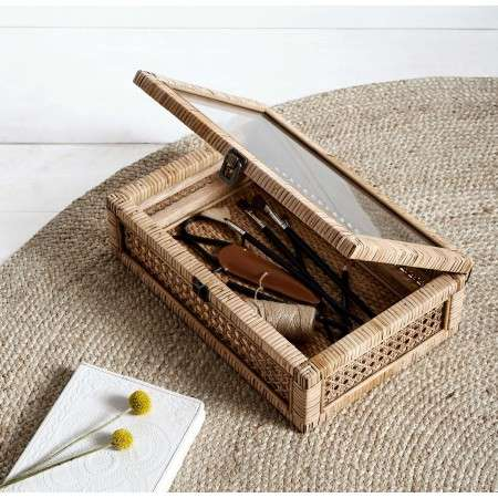 Nordal Rattan Keepsake Box with Glass Lid