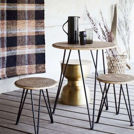 Madam Stoltz Rattan Table with 2 Stools