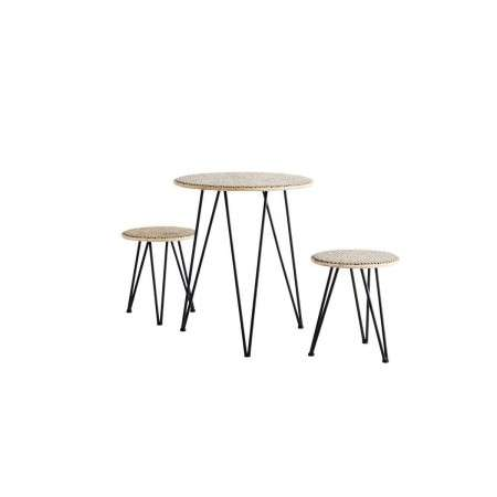 Madam Stoltz Rattan Table with 2 Stools from Accessories for the Home