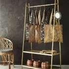 Madam Stoltz Brass Finish Clothes Rack with Shelves from Accessories for the Home