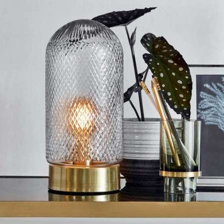 Nordal Domed Glass and Brass Table Lamp