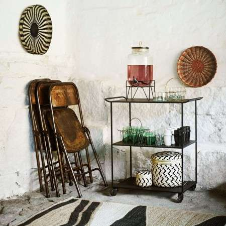 Madam Stoltz Black Iron Drinks Trolley