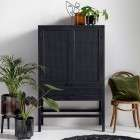Nordal Open Mesh Teak Wood Cabinet in Black from Accessories for the Home