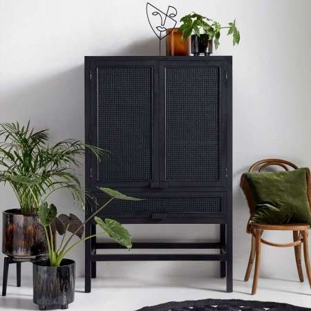 Nordal Open Mesh Teak Wood Cabinet Black