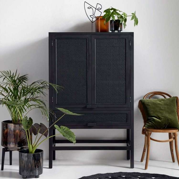 Nordal Open Mesh Teak Wood Cabinet in Black | from Accessories for the Home