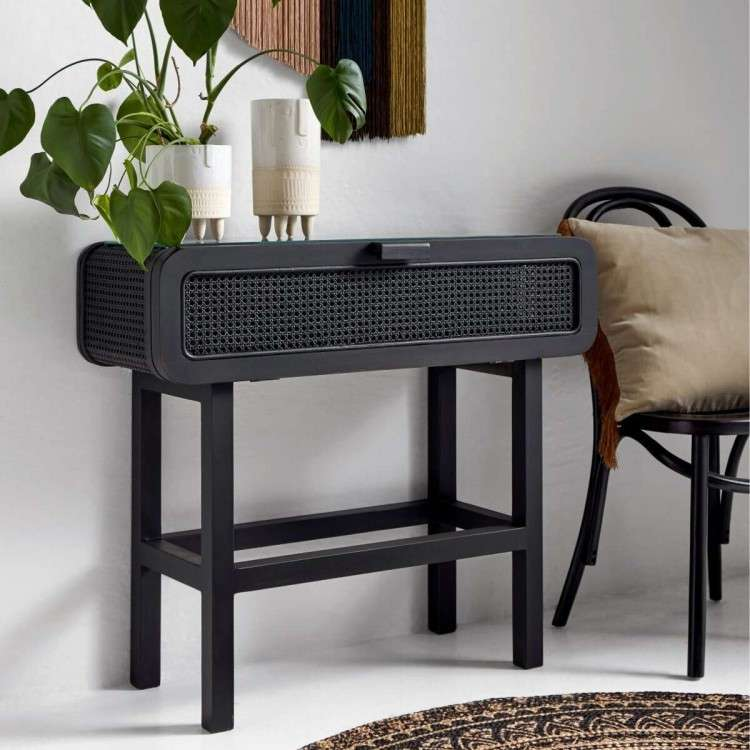 Nordal Open Mesh Teak Wood Console in Black from Accessories for the Home
