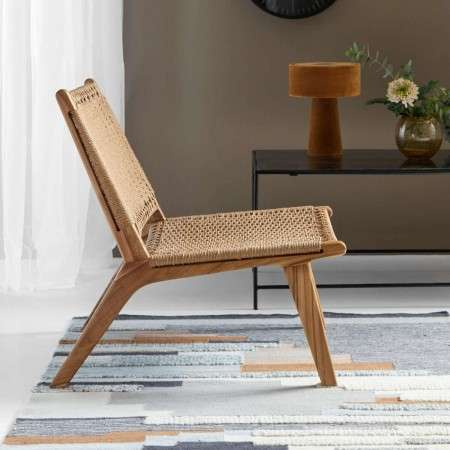 Nordal Natural Teak & Wicker Lounge Chair