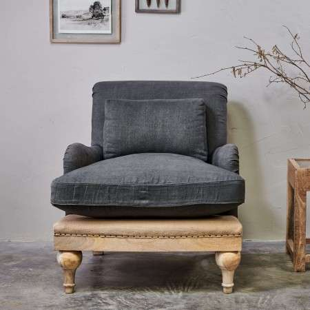 Abe Linen Armchair in Charcoal
