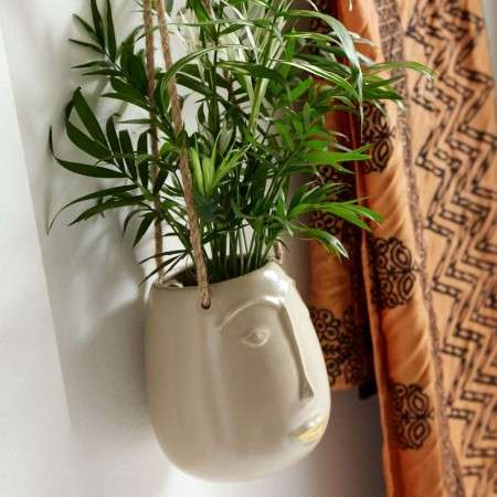 Nordal Facia Ceramic cream Hanging Planter