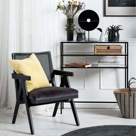 Nordal Tall Black metal & Glass Console Table