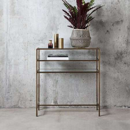 Nordal Tall Gold and Glass Console Table