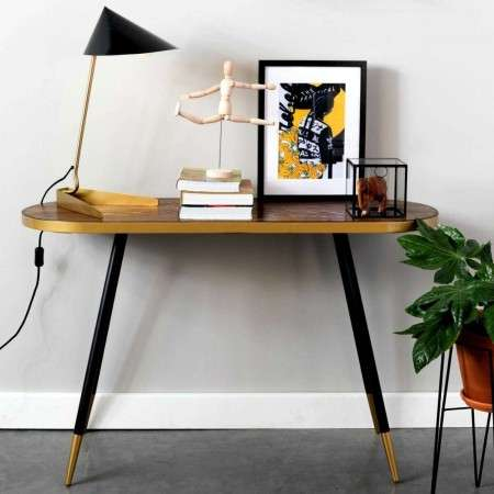 Denise Walnut Veneer & Gold Console Table