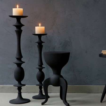 BePureHome Flare Tall Black Iron Candle Holders