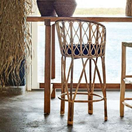 Madam Stoltz Natural Bamboo Bar Stool