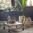 Madam Stoltz Antique Brass & Marble Drinks Trolley from Accessories for the Home