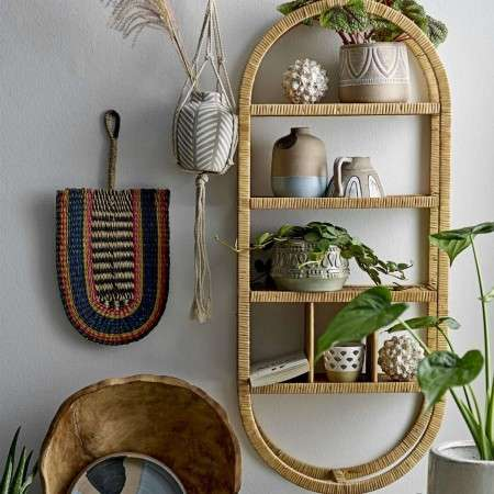 Bloomingville Oval Natural Rattan Wall Hanging Shelf