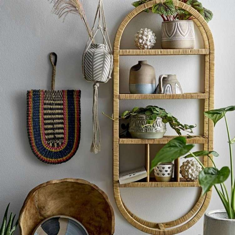 Oval Natural Rattan Wall Hanging Shelf from Accessories for the Home