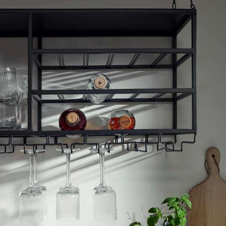 Nordal Loft Iron Hanging Shelf and Wine Rack from Accessories for the Home