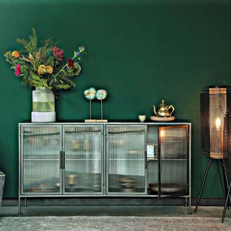 Dutchbone Boli Iron and Ribbed Glass Sideboard